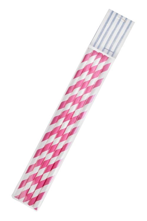 Набор трубочек для напитков ЗавитокПосуда<br>5-предм., бумага, розово-белый<br>