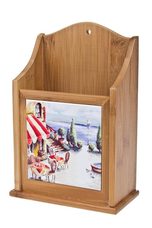 Подставка для кух. аксессуаров КафеПосуда<br>15.5*8*23см, дерево, керам.<br>