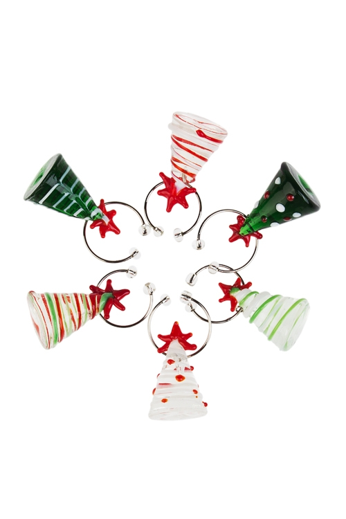 Набор новогодних подвесок для бокала ЕлочкиПосуда<br> 6-предм., стекло, ручная работа<br>