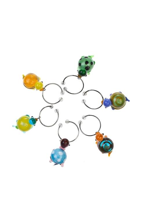 Набор подвесок для бокала Забавные черепашкиУкрашения и подвески для бокалов<br>6-предм., стекло, ручная работа<br>