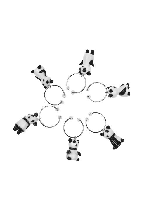 Набор подвесок для бокала Милые пандыПосуда<br>6-предм., стекло, ручная работа<br>