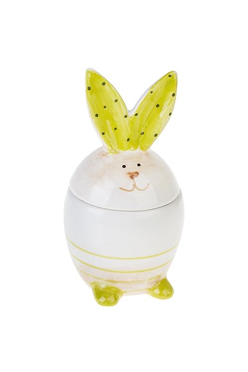 Подставка для яйца ЗайчикПодставки для яиц<br>Выс=14см, керам., бело-салат., с крышкой<br>