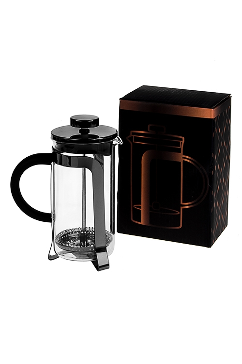 Кофейник/чайник заварочный Любимый напитокПосуда<br>350мл, стекло, металл, пластм., черный<br>