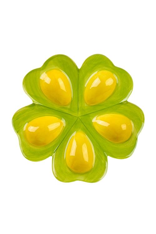 Блюдо для 5-и яиц КлеверБлюда и подставки для яиц<br>18*18см, керам.<br>