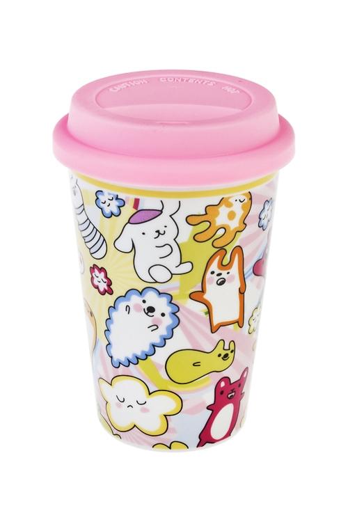 Стакан для чая/кофе Смешные монстрикиПосуда<br>380мл, керам., силикон (с крышкой)<br>