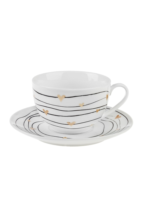 Набор для каппучино СердечкиПодарки ко дню рождения<br>1 перс., керам. (чашка 250мл)<br>