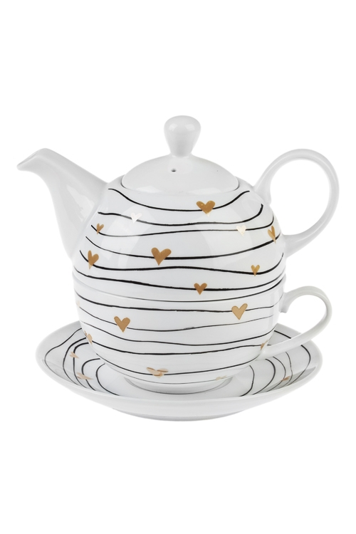 Набор чайный СердечкиПосуда<br>1 перс., керам. (чайник 420мл, чашка 250мл, блюдце)<br>
