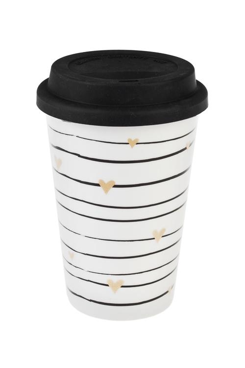 Стакан для чая/кофе СердечкиТермокружки и стаканы для чая/кофе<br>380мл, керам., силикон (с крышкой)<br>