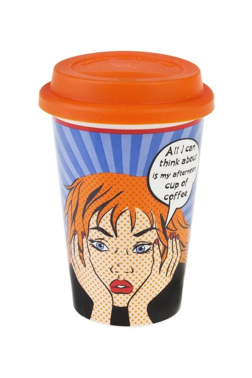 Стакан для чая/кофе МечтаПосуда<br>380мл, керам., силикон (с крышкой)<br>