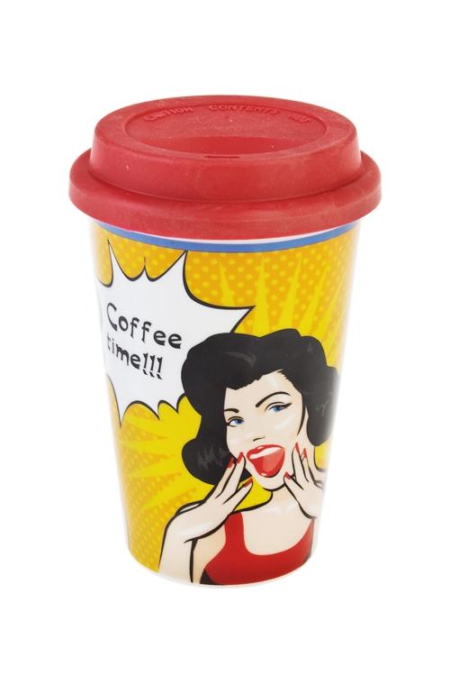 Стакан для чая/кофе Время кофеТермокружки и стаканы для чая/кофе<br>380мл, керам., силикон (с крышкой)<br>
