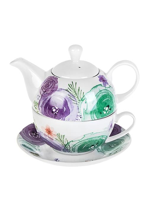Набор чайный Акварельная палитраПосуда<br>3-предм., 1 перс., керам. (чайник 420мл, чашка 250мл, блюдце)<br>