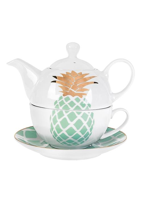 Набор чайный Ананасовый вкусЧайные наборы<br>3-предм., 1 перс., керам. (чайник 420мл, чашка 250мл, блюдце)<br>