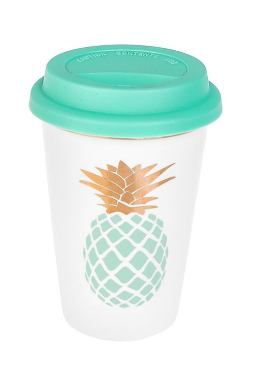 Стакан для чая/кофе Ананасовый вкусТермокружки и стаканы для чая/кофе<br>380мл, керам., мятно-золот. (с крышкой)<br>