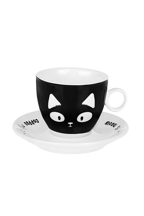 Набор для каппучино МяуКофейные наборы<br>2-предм., 1 перс., керам., черно-белый (чашка 200мл)<br>