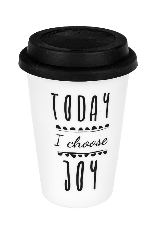 Стакан для чая/кофе Лучший деньТермокружки и стаканы для чая/кофе<br>380мл, керам., черно-белый (с крышкой)<br>