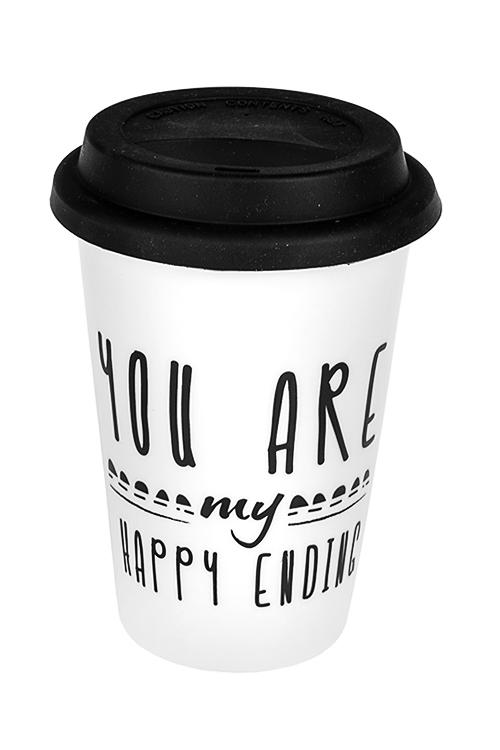 Стакан для чая/кофе СчастьеТермокружки и стаканы для чая/кофе<br>380мл, керам., черно-белый (с крышкой)<br>