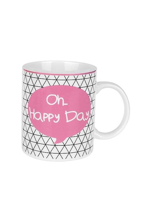 Кружка Счастливый деньКружки и бокалы<br>350мл, керам., бело-розовая<br>