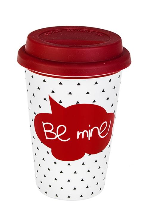 Стакан для чая/кофе Будь моейТермокружки и стаканы для чая/кофе<br>380мл, керам., красно-белый (с крышкой)<br>