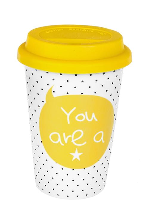 Стакан для чая/кофе Ты моя звездаТермокружки и стаканы для чая/кофе<br>380мл, керам., желто-белый (с крышкой)<br>