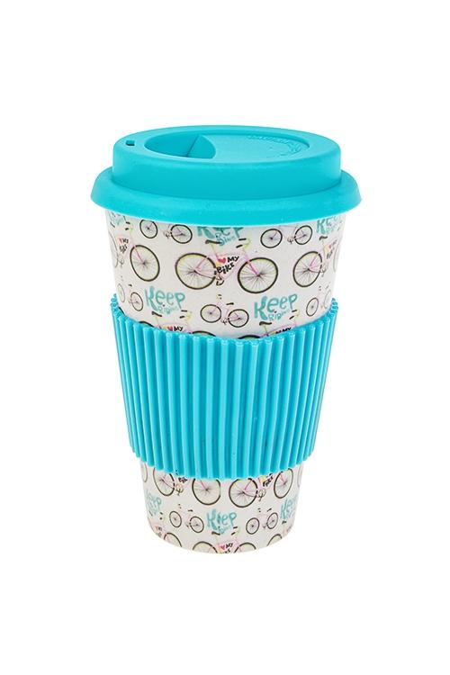 Стакан для чая/кофе ПозитивПосуда<br>400мл, пластм., бамбук. волокно, с крышкой, с силикон. держателем<br>