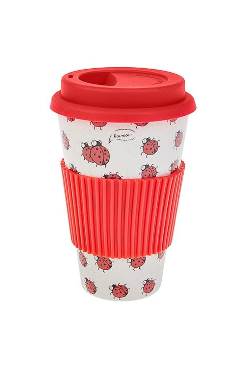 Стакан для чая/кофе Божьи коровкиПосуда<br>400мл, пластм., бамбук. волокно, с крышкой, с силикон. держат.<br>
