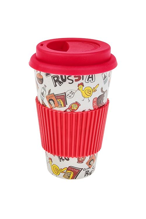 Стакан для чая/кофе Ай эм фром РАШАПосуда<br>400мл, пластм., бамбук. волокно, с крышкой, с силикон. держ.<br>