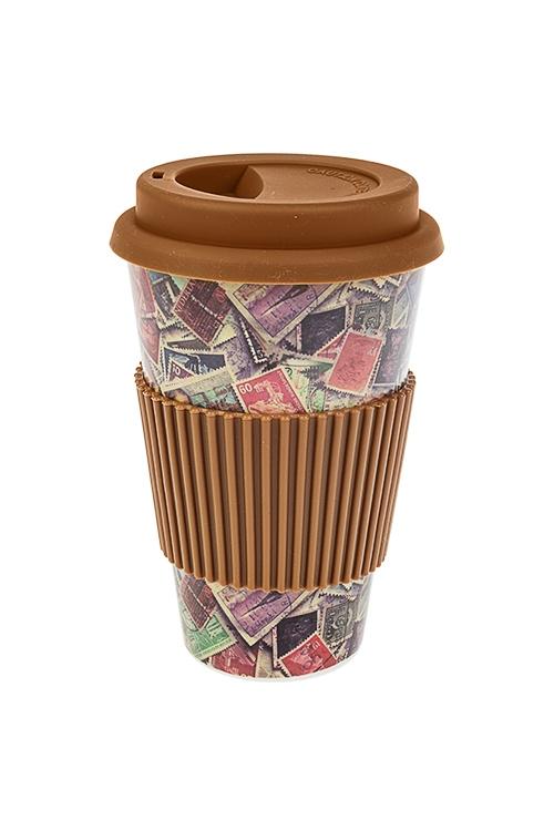 Стакан для чая/кофе Почтовые маркиПосуда<br>400мл, пластм., бамбук. волокно, с крышкой, с силикон. держ.<br>