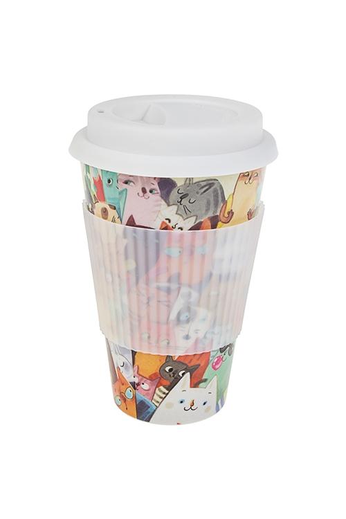 Стакан для чая/кофе Ученые котыПосуда<br>400мл, пластм.,  бамбук. волокно, с крышкой, с силикон. держ.<br>