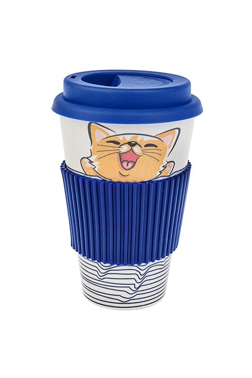 Стакан для чая/кофе Море-мяуПосуда<br>400мл, пластм., бамбук. волокно, с крышкой, с силикон. держателем<br>