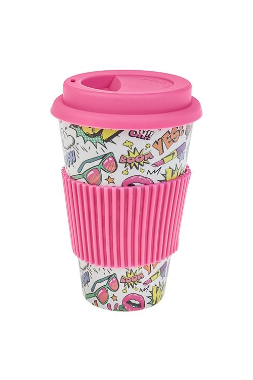 Стакан для чая/кофе Поп-артТермокружки и стаканы для чая/кофе<br>400мл, пластм., бамбук. волокно, с крышкой, с силикон. держателем<br>