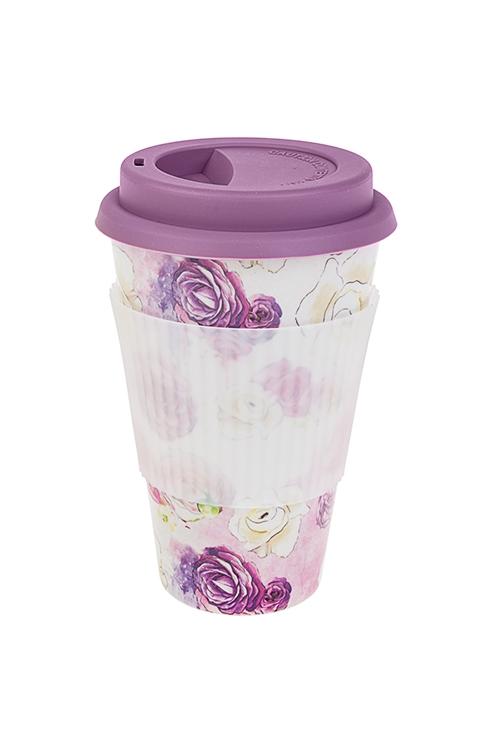 Стакан для чая/кофе Волшебные цветыПосуда<br>400мл, пластм., бамбук. волокно, с крышкой, с силикон. держ.<br>