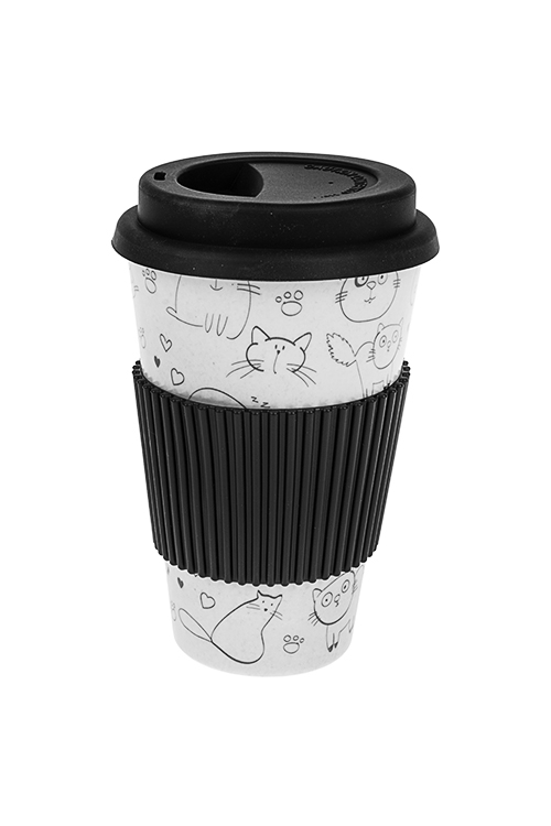 Стакан для чая/кофе Время котиковПосуда<br>400мл, пластм., бамбук. волокно, с крышкой, с силикон. держ.<br>