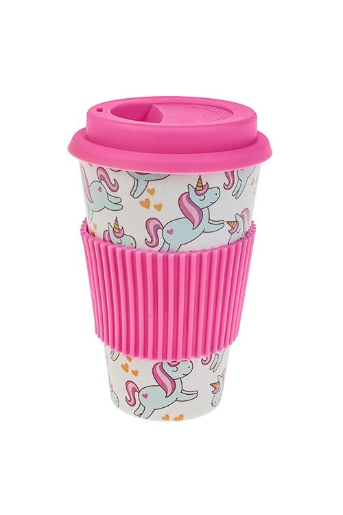 Стакан для чая/кофе Счастливый единорогПосуда<br>400мл, пластм., бамбук. волок., с крышкой, с силик. держ<br>