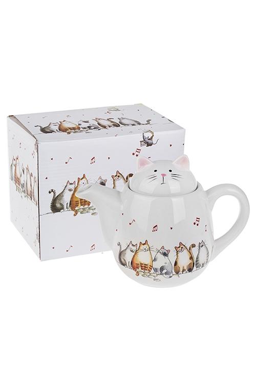 Чайник заварочный Милые котикиПосуда<br>950мл, Выс=16см, керам.<br>