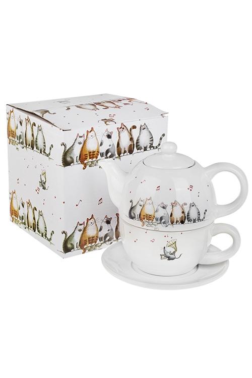 Набор чайный Милые котикиПосуда<br>3-предм., 1 перс., керам. (чайник 380мл, кружка 350мл, блюдце)<br>
