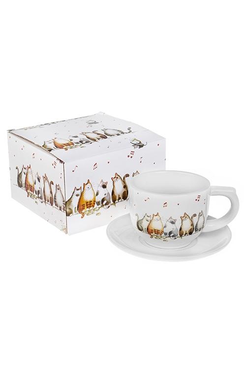 Чайная пара Милые котикиПодарки ко дню рождения<br>Керам. (чашка 200мл)<br>