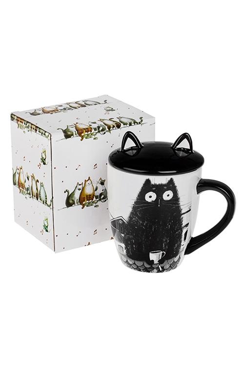 Кружка с крышкой Котик на крышеКружки и бокалы<br>375мл, керам., черно-белая<br>