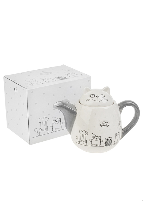 Чайник заварочный КотикиПодарки маме<br>900мл, Выс=16см, керам.<br>