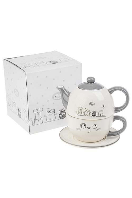 Набор чайный КотикиПосуда<br>3-предм., 1 перс., керам. (чайник 380мл, кружка 350мл, блюдце)<br>