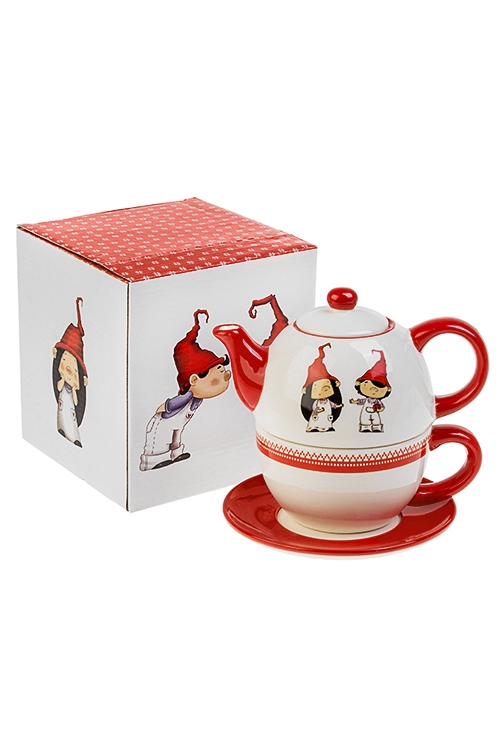 Набор чайный новогодний ГномикиПосуда<br>3-предм., 1 перс., керам. (чайник 380мл, кружка 350мл, блюдце)<br>