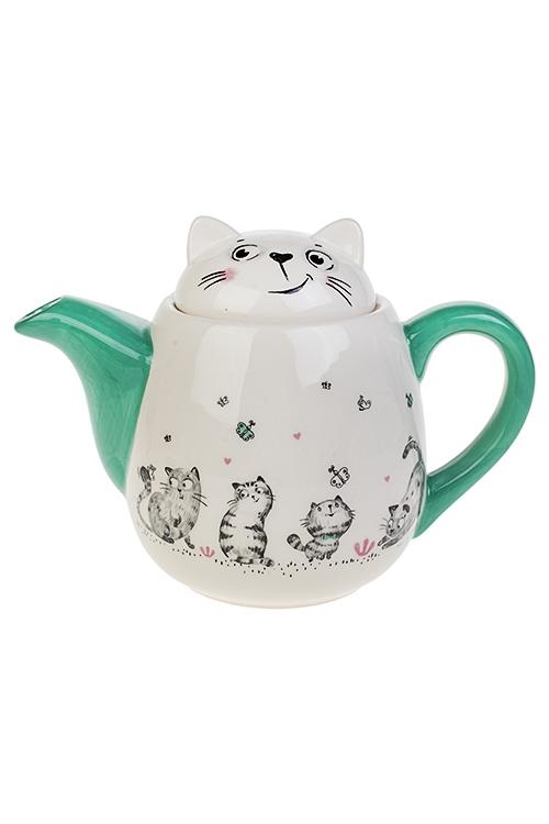 Чайник заварочный Смешные котикиПодарки маме<br>1000мл, Выс=16см, керам.<br>