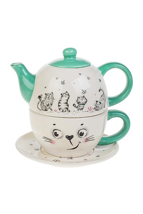 Набор чайный Смешные котикиПосуда<br>3-предм., 1 перс., керам. (чайник 380мл, кружка 350мл, блюдце)<br>