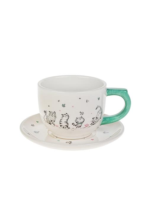 Чайная пара Смешные котикиПосуда<br>керам. (чашка 200мл)<br>