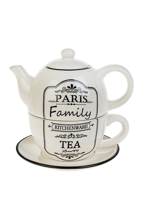 Набор чайный СемьяПосуда<br>3-предм., 1 перс., керам. (чайник 380мл, кружка 350мл, блюдце)<br>