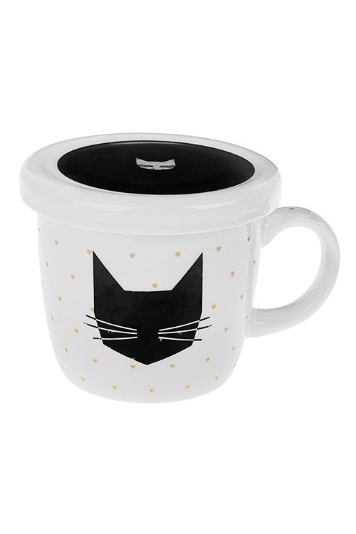 Кружка с крышкой Черный котКружки<br>345мл, керам.<br>