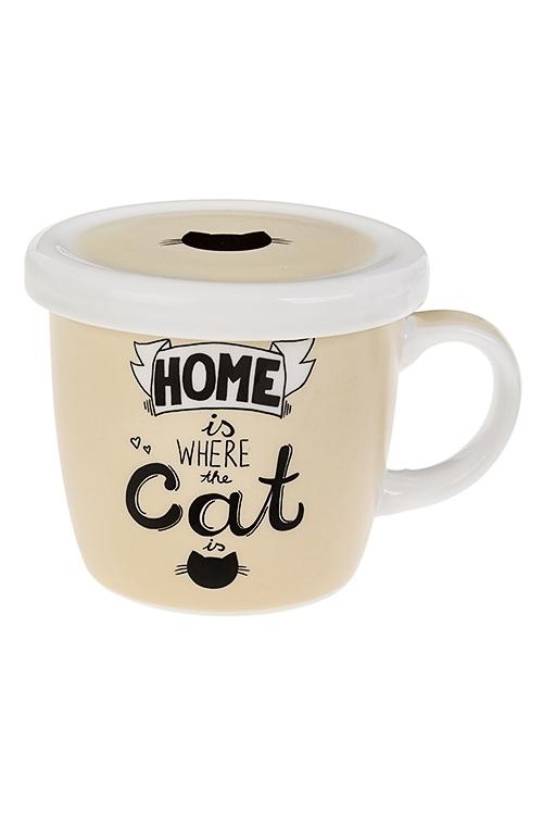 Кружка с крышкой Домашний котКружки<br>345мл, керам.<br>