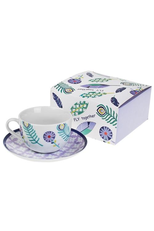 Чайная пара Волшебное перышкоПодарки на 8 марта<br>керам. (чашка 220мл)<br>