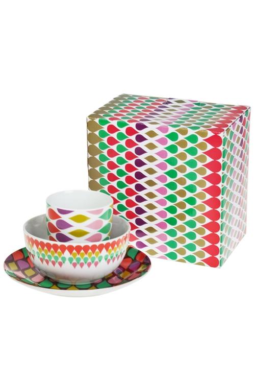 Набор для завтрака Яркая геометрияПодарки ко дню рождения<br>1 перс., фарфор (тарелки, кружка)<br>