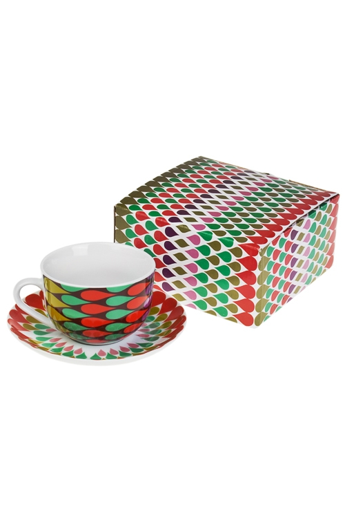 Чайная пара Яркая геометрияПосуда<br>керам. (чашка 220мл)<br>