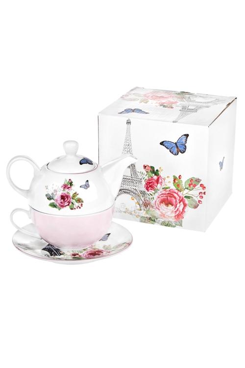Набор чайный Парижские историиПосуда<br>3-предм., 1 перс., керам. (чайник 400мл, кружка 250мл, блюдце)<br>